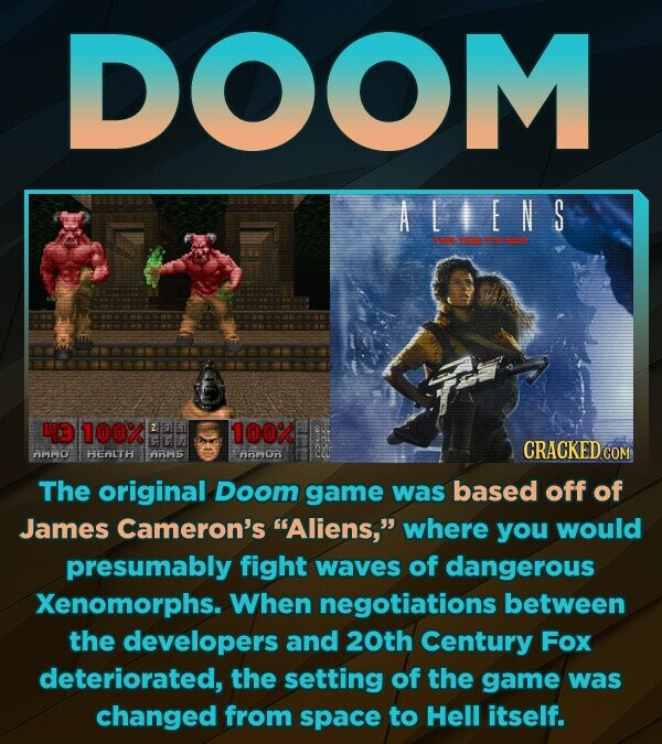 DOOM AIEN S PEARERR 100% 100% SG CRACKED COM AMMD HEAltH ARME AM0r The original Doom game was based off of James Cameron's Aliens, where you would presumably fight waves of dangerous Xenomorphs. When negotiations between the developers and 20th Century Fox deteriorated, the setting of the game was changed from space