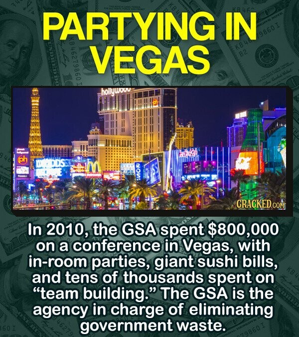 PARTYING IN 9860I VEGAS B2 hollywowv ph IOK CRACKEDo COM In 2010, the GSA spent $800, 000 on a conference in Vegas, with room parties, giant suSHI bills, and tens Of thousands spent on team building. The GSA is the agency in charge of eliminating government waste.