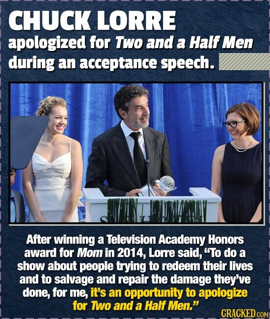 CHUCK LORRE apologized for Two and a Half Men during an acceptance speech. After winning a Television Academy Honors award for Mom in 2014, Lorre said