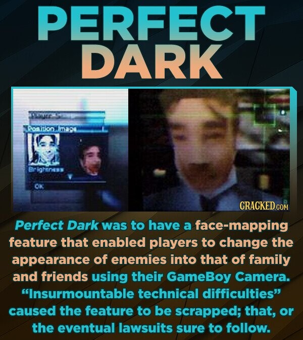 PERFECT DARK T 10oo mae Br ightnes K CRACKED cO Perfect Dark was to have a face-mapping feature that enabled players to change the appearance of enemies into that of family and friends using their GameBoy Camera. Insurmountable technical difficulties caused the feature to be scrapped; that, or the eventual lawsuits sure
