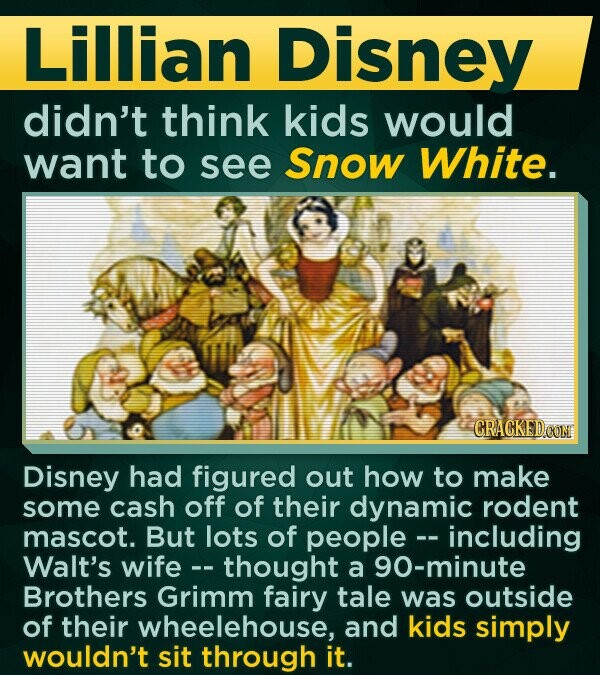 Lillian Disney didn't think kids would want to see Snow White. Disney had figured out how to make some cash off of their dynamic rodent mascot. But lots of people--including Walt's wife -- thought a 90-minute Brothers Grimm fairy tale was outside of their wheelehouse, and kids simply wouldn't sit