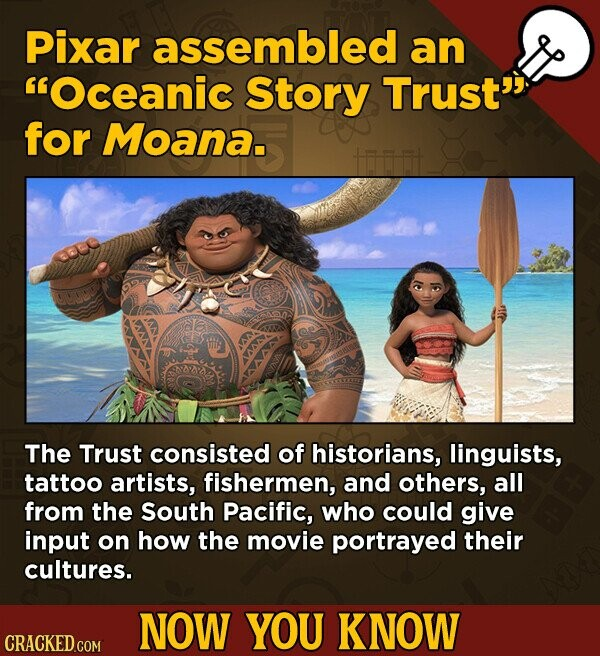 Pixar assembled an Oceanic Story Trust' for Moana. The Trust consisted of historians, linguists, tattoo artists, fishermen, and others, all from the South Pacific, who could give input on how the movie portrayed their cultures. NOW YOU KNOW CRACKED.COM