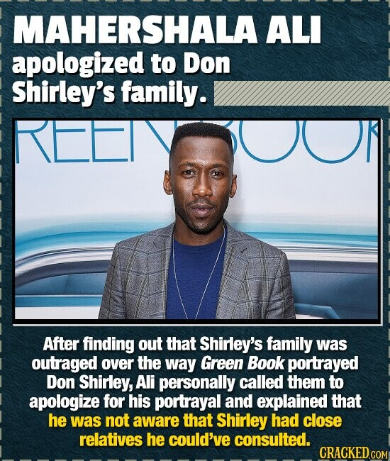 MAHERSHALA ALI apologized to Don Shirley's family. REETY After finding out that Shirley's family was outraged over the way Green Book portrayed Don Sh