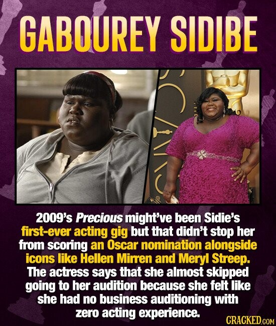 GABOUREY SIDIBE 2009's Precious might've been Sidie's first-ever acting gig but that didn't stop her from scoring an Oscar nomination alongside icons like Hellen Mirren and Meryl Streep. The actress says that she almost skipped going to her audition because she felt like she had no business auditioning with zero