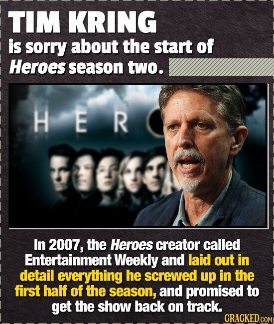 TIM KRING is sorry about the start of Heroes season two. HER OO In 2007, the Heroes creator called Entertainment Weekly and laid out in detail everyth