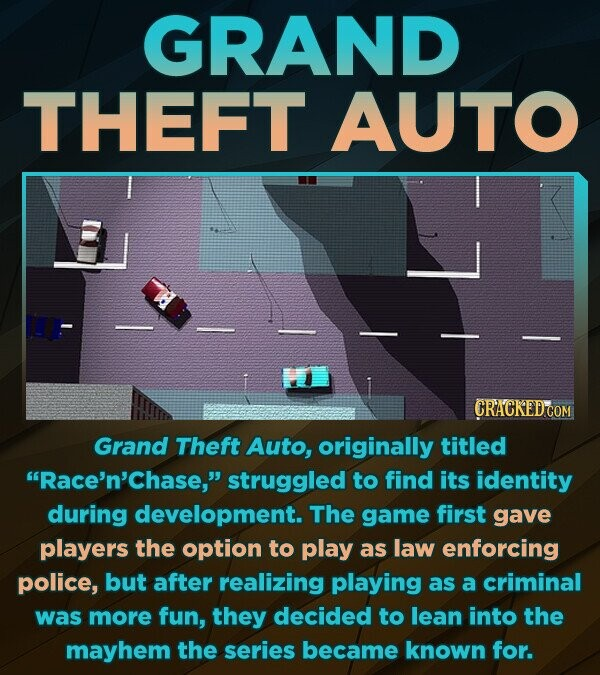 GRAND THEFT AUTO Grand Theft Auto, originally titled Race'n'chase, struggled to find its identity during development. The game first gave players the option to play as law enforcing police, but after realizing playing as a criminal was more fun, they decided to lean into the mayhem the series became