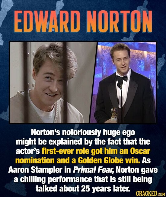 EDWARD NORTON Norton's notoriously huge ego might be explained by the fact that the actor's first-ever role got him an Oscar nomination and a Golden Globe win. As Aaron Stampler in Primal Fear, Norton gave a chilling performance that is still being talked about 25 years later. CRACKED.COM
