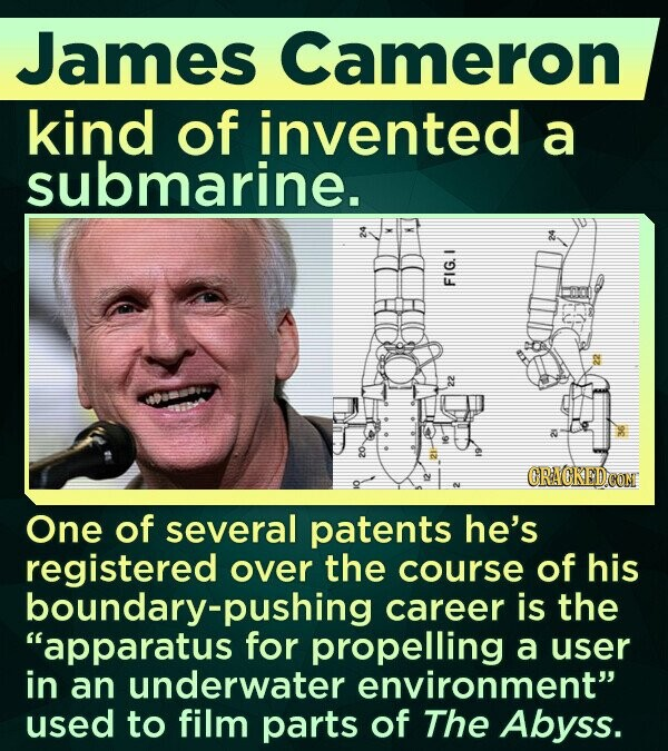 James Cameron kind of invented a submarine. FU One of several patents he's registered over the course of his boundary-pushing career is the apparatus for propelling a user in an underwater environment used to film parts of The Abyss.