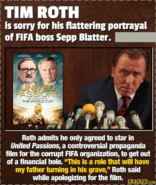 TIM ROTH is sorry for his flattering portrayal of FIFA boss Sepp Blatter. - DEPARDIEU NEILL ROTH UNITED PASSIONS THe TRUE STORY OF THE WORLD CUP Roth