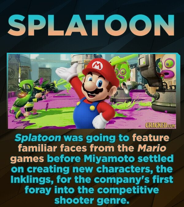 SPLATOON CRACKEDCE Splatoon was going to feature familiar faces from the Mario games before Miyamoto settled on creating new characters, the Inklings, for the company's first foray into the competitive shooter genre.