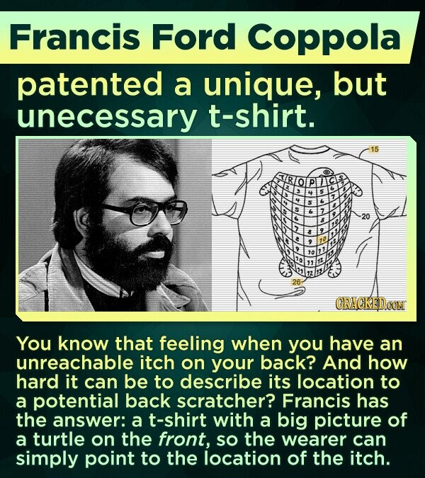 Francis Ford Coppola patented a unique, but unecessary t-shirt. 15 20 26 You know that feeling when you have an unreachable itch on your back? And how hard it can be to describe its location to a potential back scratcher? Francis has the answer: a t-shirt with a big