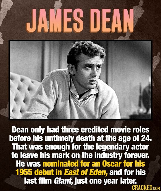JAMES DEAN Dean only had three credited movie roles before his untimely death at the age of 24. That was enough for the legendary actor to leave his mark on the industry forever. He was nominated for an Oscar for his 1955 debut in East of Eden, and for his