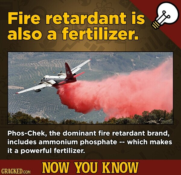 Fire retardant is also a fertilizer. PhoS-Chek, the dominant fire retardant brand, includes ammonium phosphate - which makes it a powerful fertilizer. NOW YOU KNOW
