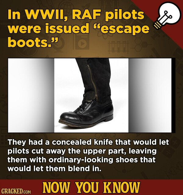 In WWll, RAF pilots were issued escape boots. They had a concealed knife that would let pilots cut away the upper part, leaving them with ordinary-looking shoes that would let them blend in. NOW YOU KNOW