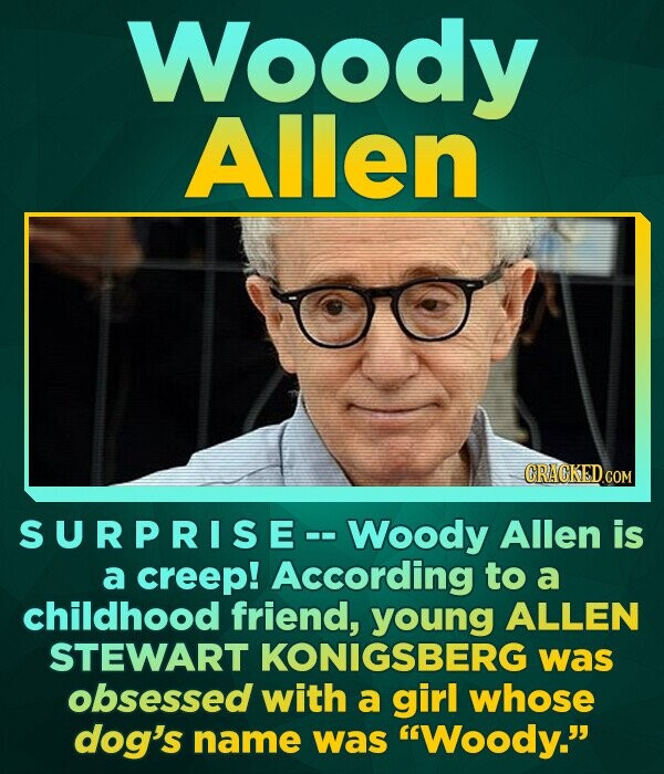 Woody Allen ORACKEDCO COM SURPRISE--WoOdY Allen is a creep! to a childhood friend, young ALLEN STEWART KONIGSBERG was obsessed with a girl whose dog's