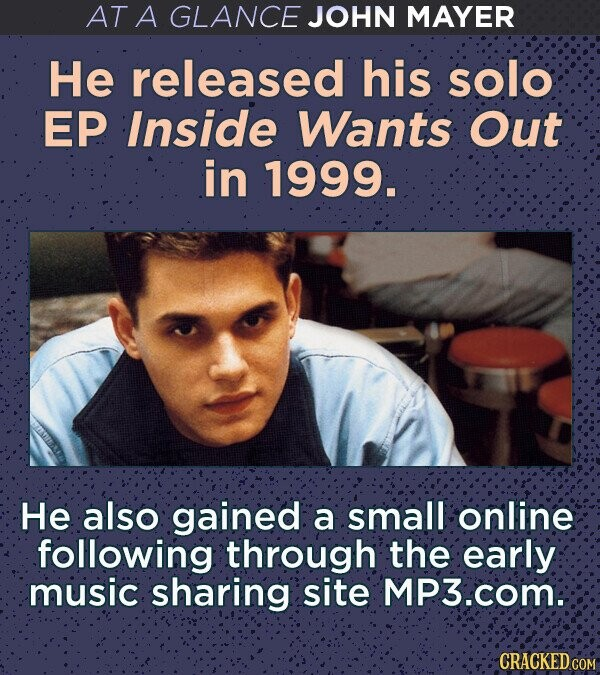 AT A GLANCE JOHN MAYER He released his solo EP Inside Wants Out in 1999. He also gained a small online following through the early music sharing site MP3.com: CRACKED COM