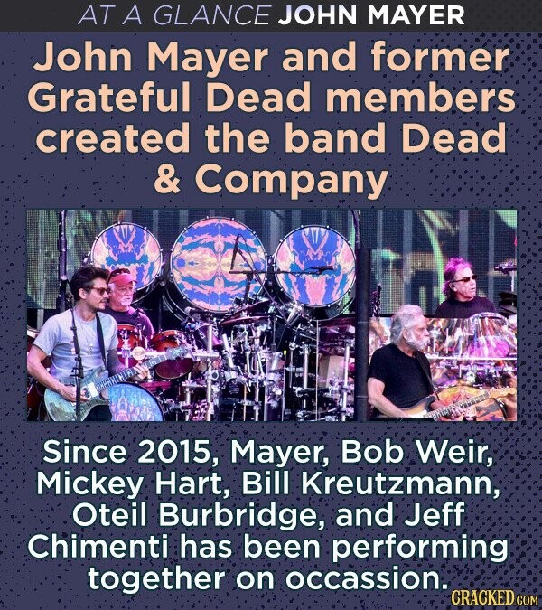 AT A GLANCE JOHN MAYER John Mayer and former Grateful Dead members created the band Dead & Company Since 2015, Mayer, Bob Weir, Mickey Hart, Bill Kreutzmann; Oteil Burbridge, and Jeff Chimenti has been performing together on occassion. CRACKED COM