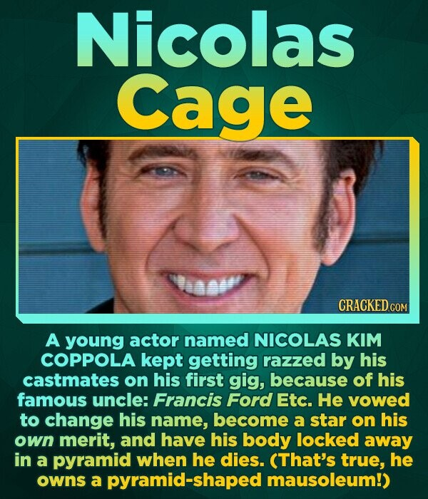 Nicolas Cage CRACKED COM A young actor named NICOLAS KIM COPPOLA kept getting razzed by his castmates on his first gig, because of his famous uncle: F