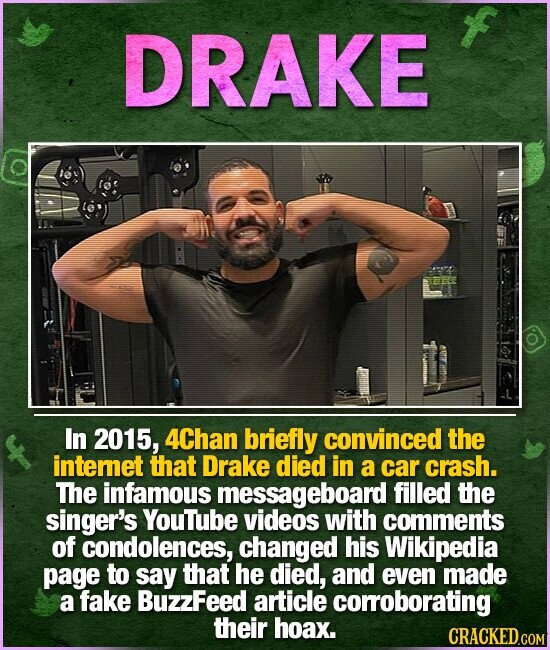 DRAKE In 2015, 4Chan briefly convinced the intemet that Drake died in a car crash. The infamous messageboard filled the singer's YouTube videos with comments of condolences, changed his Wikipedia page to say that he died, and even made a fake BuzzFeed article corroborating their hoax.