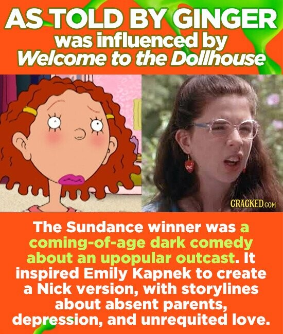 AS TOLD BY GINGER was influenced by Welcome to the Dollhouse The Sundance winner was a coming-of-age dark comedy about an upopular outcast. It inspired Emily Kapnek to create a Nick version, with storylines about absent parents, depression, and unrequited love.