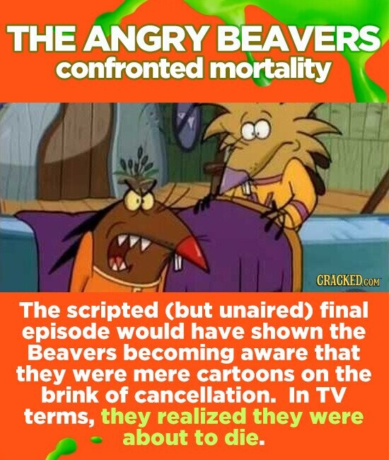 THE ANGRY BEAVERS confronted mortality CRACKEDCO The scripted (but unaired) final episode would have shown the Beavers becoming aware that they were mere cartoons on the brink of cancellation. In TV terms, they realized they were about to die.