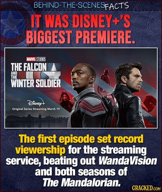 BEHIND-THE-SCENES FACTS IT WAS DISNEY +'S BIGGEST PREMIERE. MARVEL STUOIOS THE FALCON AND THE WINTER SOLDIER Disney+ Original Series Streaming March 19 The first episode set record viewership for the streaming service, beating out WandaVision and both seasons of The Mandalorian.