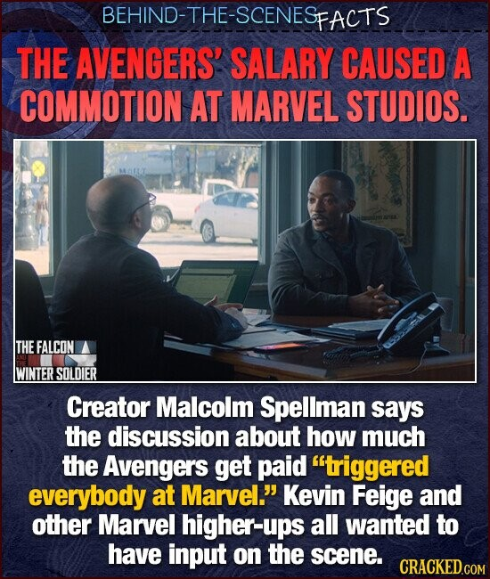 BEHIND-THE-SCENESE FACTS THE AVENGERS' SALARY CAUSED A COMMOTION AT MARVEL STUDIOS. THEFALCON WINTER SOLDIER Creator Malcolm Spellman says the discussion about how much the Avengers get paid triggered everybody at Marvel. Kevin Feige and other Marvel higher-ups all wanted to have input on the scene.