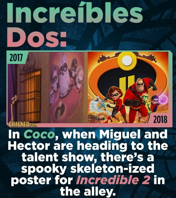 Increibles DOs: 2017 2018 In Coco, when Miguel and Hector are heading to the talent show, there's a spooky skeleton-ized poster for Incredible 2 in th