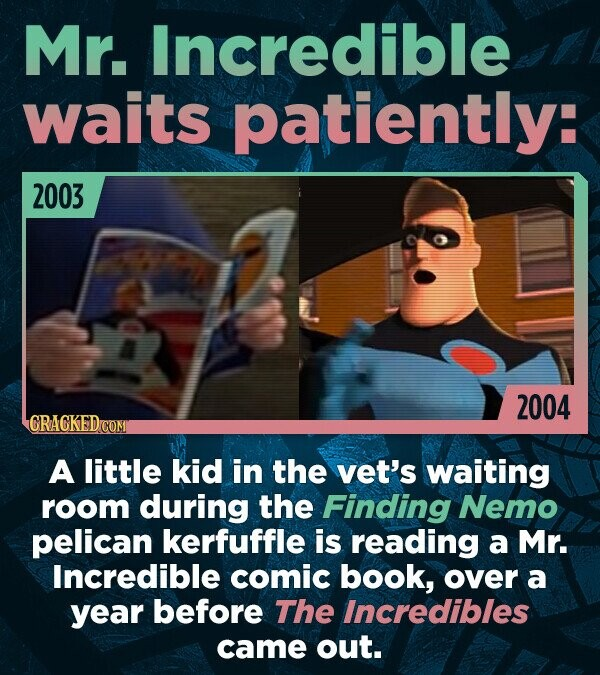 Mr. Incredible waits patiently: 2003 2004 GRACKED A little kid in the vet's waiting room during the Finding Nemo pelican kerfuffle is reading a Mr. In