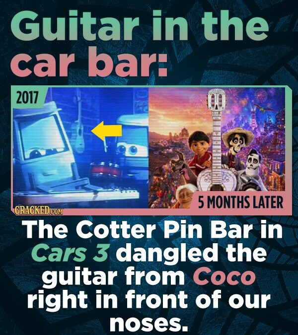 Guitar in the car bar: 2017 5 MONTHS LATER CRACKEDCO The cotter Pin Bar in Cars 3 dangled the guitar from Coco right in front of our noses.