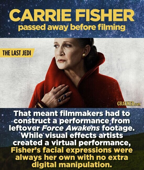 CARRIE FISHER passed away before filming THE LAST JEDI CRACKED COM That meant filmmakers had to construct a performance from leftover Force Awakens footage. 'While visual effects artists created a virtual performance, Fisher's facial expressions were always her own with no extra digital manipulation.