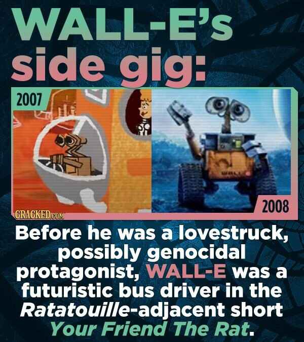 WALL-E'S side Gig: 2007 2008 CRACKED Before he was a lovestruck, possibly genocidal protagonist, WALL-E was a futuristic bus driver in the Ratatouille