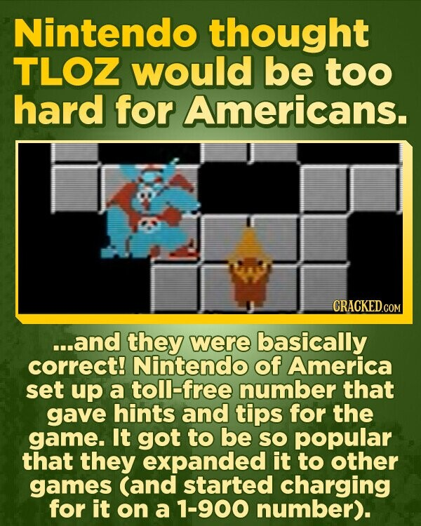 Nintendo thought TLOZ would be too hard for Americans. ...and they were basically correct! Nintendo of America set up a toll-free number that gave hints and tips for the game. It got to be SO popular that they expanded it to other games (and started charging for it on