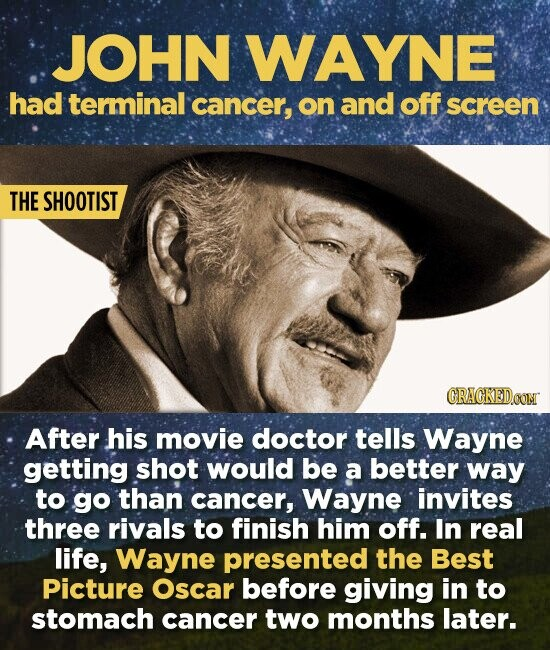 JOHN WAYNE had terminal cancer, on and off screen THE SHOOTIST CRAGKEDCOM After his movie doctor tells Wayne getting shot would be a better way to go than cancer, Wayne invites three rivals to finish him off. In real life, Wayne presented the Best Picture Oscar before giving in to
