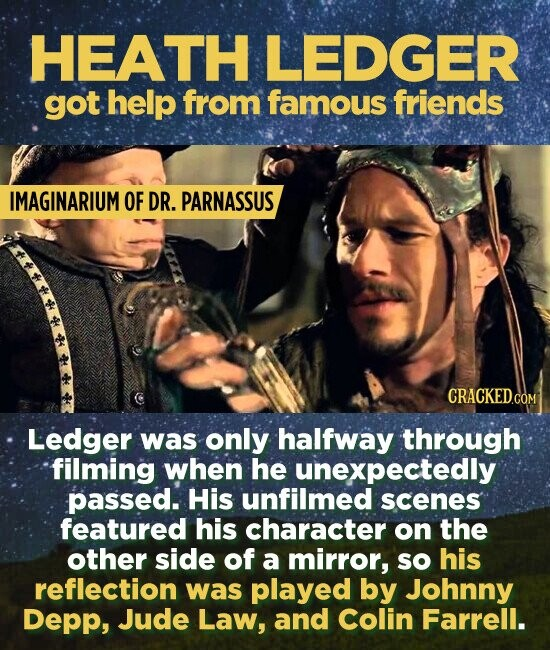 HEATH LEDGER got help from famous friends IMAGINARIUM OF DR. PARNASSUS Ledger was only halfway through filming when he unexpectedly passed. His unfilmed scenes featured his character on the other side of a mirror, sO his reflection was played by Johnny Depp, Jude Law, and Colin Farrell.