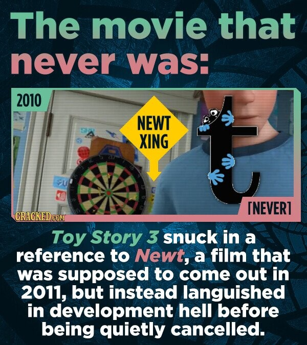 The movie that never was: 2010 NEWT XING [NEVER1 CRACKEDC COM Toy Story 3 snuck in a reference to Newt, a film that was supposed to come out in 2011,