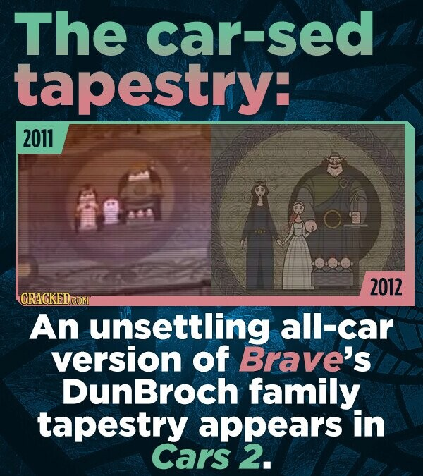 The car-sed tapestry: 2011 8-8 2012 CRACKED An unsettling all-car version of Brave's DunBroch family tapestry appears in Cars 2.