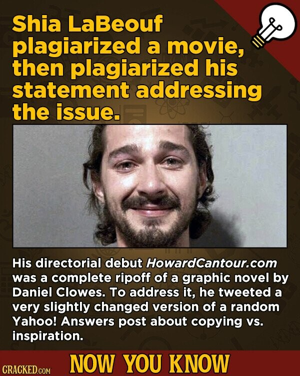 Shia LaBeouf plagiarized a movie, then plagiarized his statement addressing the issue. His directorial debut Howardcantour.com was a complete ripoff of a graphic novel by Daniel Clowes. To address it, he tweeted a very slightly changed version of a random Yahoo! Answers post about copying Vs. inspiration. NOW YOU KNOW