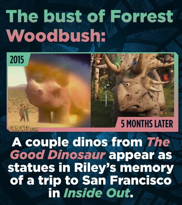 The bust of Forrest Woodbush: 2015 5 MONTHS LATER GRACKEDCO A couple dinos from The Good Dinosaur appear as statues in Riley's memory of a trip to San