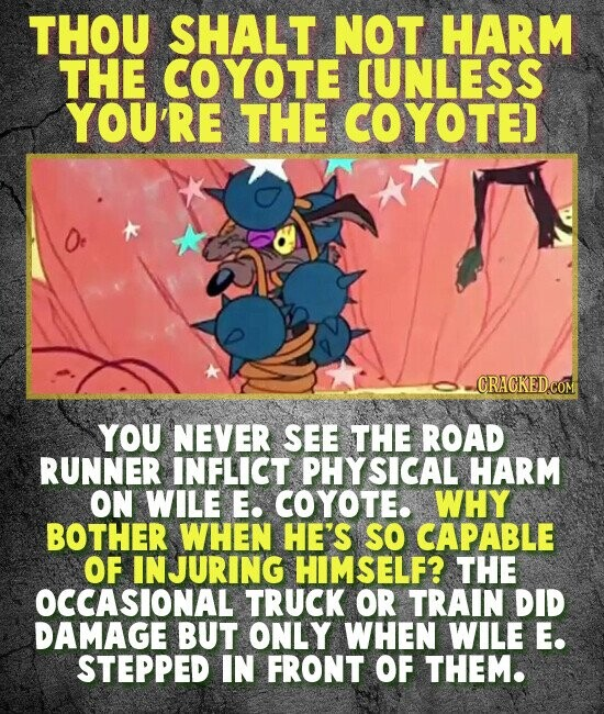 THOU SHALT NOT HARM THE COYOTE [UNLESS YOU'R THE COYOTE) - CRACKEDCOM YOU NEVER SEE THE ROAD RUNNER INFLICT PHY SICAL HARM ON WILE E. COYOTE. WHY BOTHER WHEN HE'S SO CAPABLE OF INJURING HIMSELF? THE OCCASIONAL TRUCK OR TRAIN DID DAMAGE BUT ONLY WHEN WILE E. STEPPED IN FRONT OF