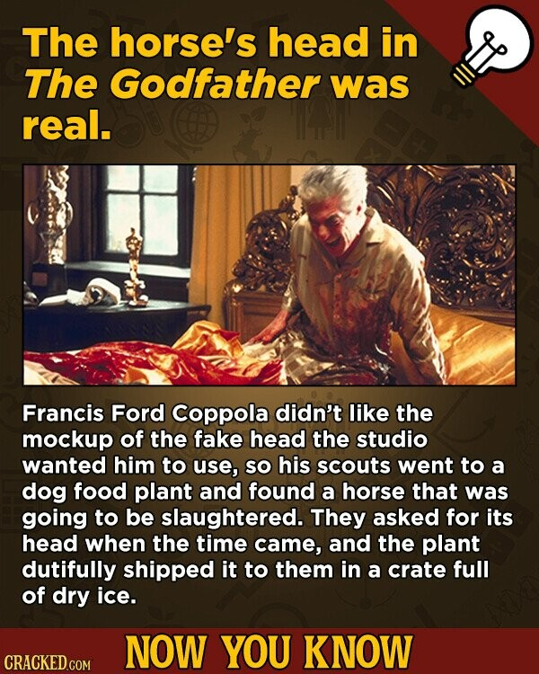 The horse's head in The Godfather was real. Francis Ford Coppola didn't like the mockup of the fake head the studio wanted him to use, SO his scouts went to a dog food plant and found a horse that was going to be slaughtered. They asked for its head when