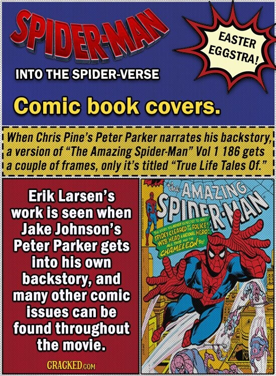 SPIDERMA EASTER EGGSTRA! INTO THE SPIDER-VERSE Comic book covers. I When Chris Pine's Peter Parker narrates his backstory, a version of The Amazing Spider-Man Vol 1 186 gets a couple of frames, only it's titled True Life Tales Of. tnd AMAZING Erik Larsen's SPineRe work is seen when AN Jake
