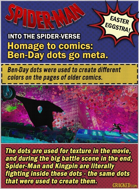 SPIDERMAD EASTER EGGSTRA! INTO THE SPIDER-VERSE Homage to comics: Ben-Day dots go meta. Ben-Day dots were used to create different colors on the pages of older comics. The dots are used for texture in the movie, and during the big battle scene in the end, Spider-Man and Kingpin are literally