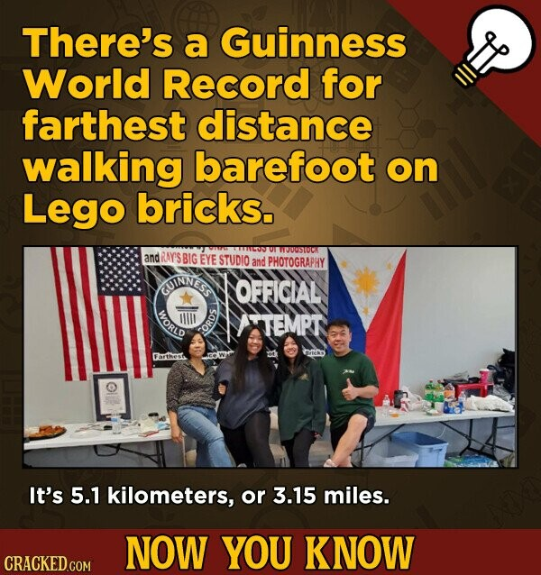 There's a Guinness World Record for farthest distance walking barefoot on Lego bricks. O1 WOUUSTOCK and RAY'S BIG EYE STUDIO and PHOTOGRAPHY GUINNESS OFFICIAL WORLD TIlI ATEMPT FOR RED Farthes It's 5.1 kilometers, or 3.15 miles. NOW YOU KNOW