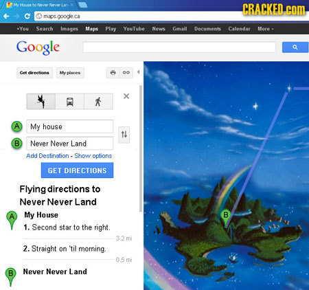 1o iever CRACKED. com maps.googke.ca -You Search Images Maps Play YouTube Nevs Gmail Dacumenhs Calendar More - Google Cee dirertinns Nyoloces oo X A M