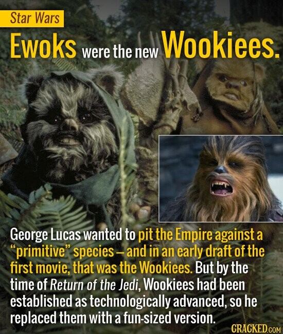 STAR WARS Ewoks were the new Wookiees. George Lucas wanted to pit the Empire against a primitive species and in an early draft of the first movie, t