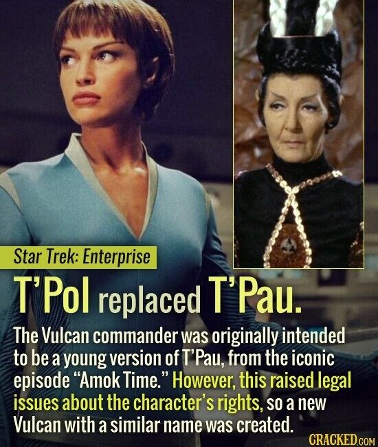 Star Trek: Enterprise T'Pol replaced T'Pau. The Vulcan commander was originally intended to be a young version of T'Pau, from the iconic episode Amok