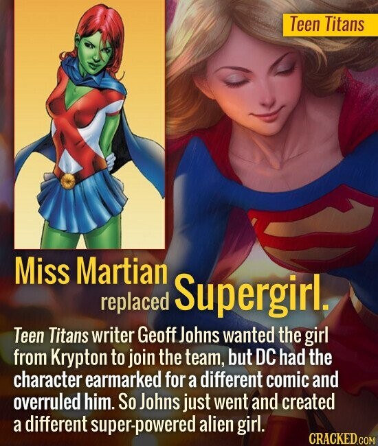 Teen Titans Miss Martian Supergirl replaced Teen Titans writer Geoff Johns wanted the girl from Krypton to join the team, but DC had the character ear