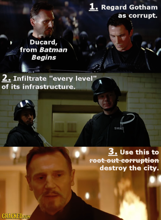 1. Regard Gotham as corrupt. Ducard, from Batman Begins 2. Infiltrate every level of its infrastructure. SWat 3. Use this to root out-corruption des