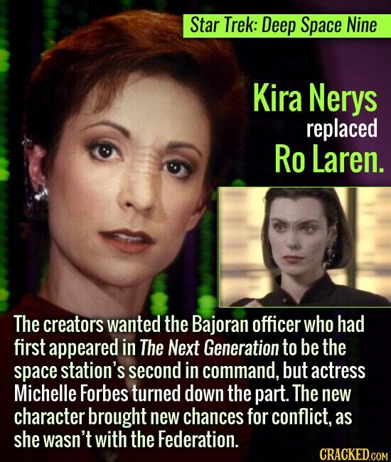 Star Trek: Deep Space Nine Kira Nerys replaced Ro Laren. The creators wanted the Bajoran officer who had first appeared in The Next Generation to be t